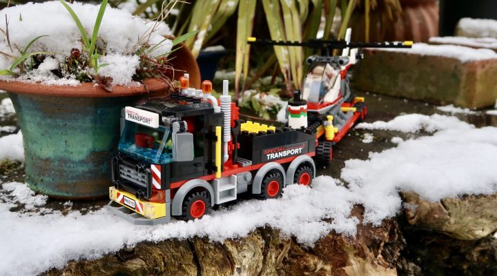 LEGO City Heavy Cargo Transport 60183 truck on a narrow path