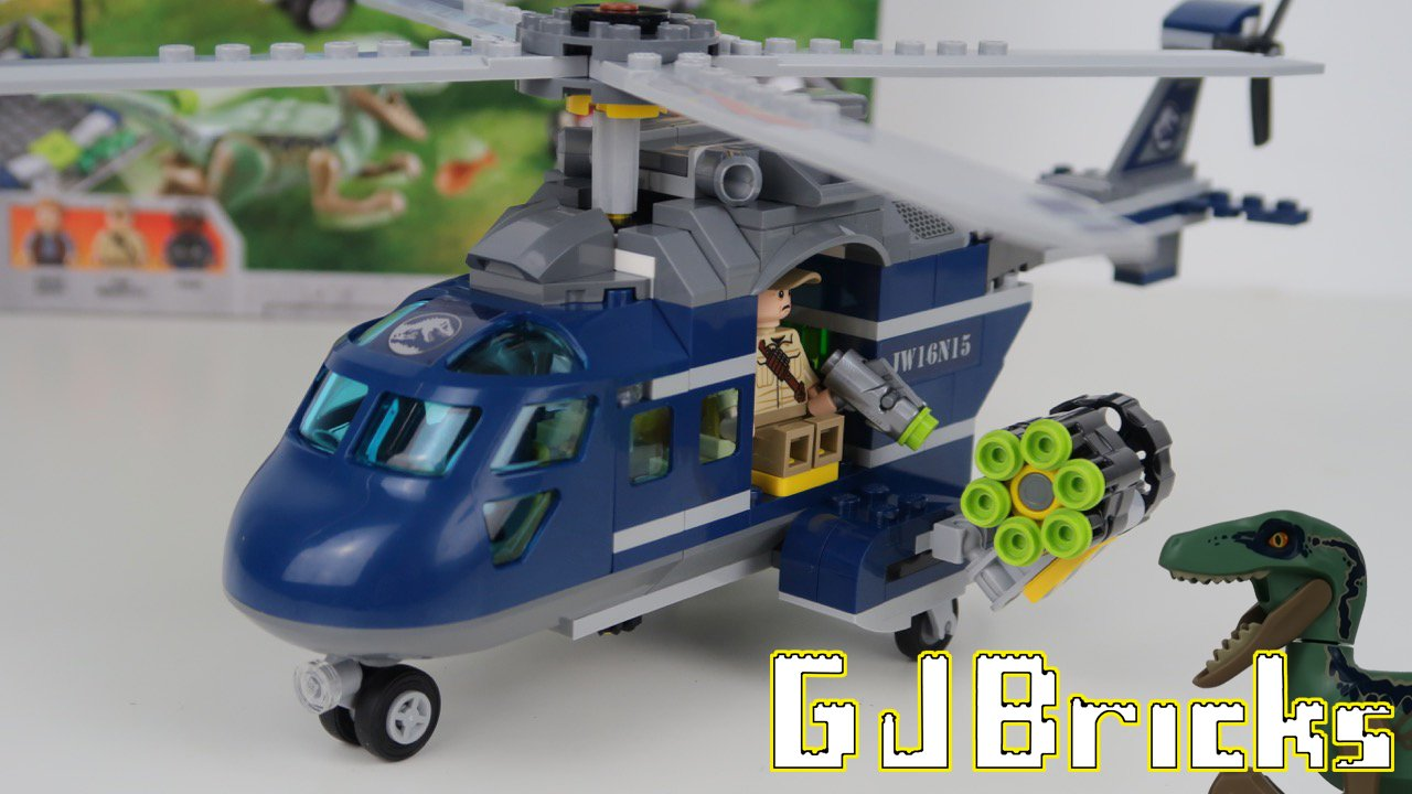 🦖 LEGO Jurassic World Blue's Helicopter Pursuit unboxing and time lapse build (set 75928)