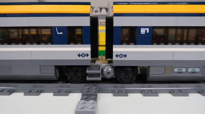 Modified LEGO City Passenger Train 60197 with Jacobs Bogie close up