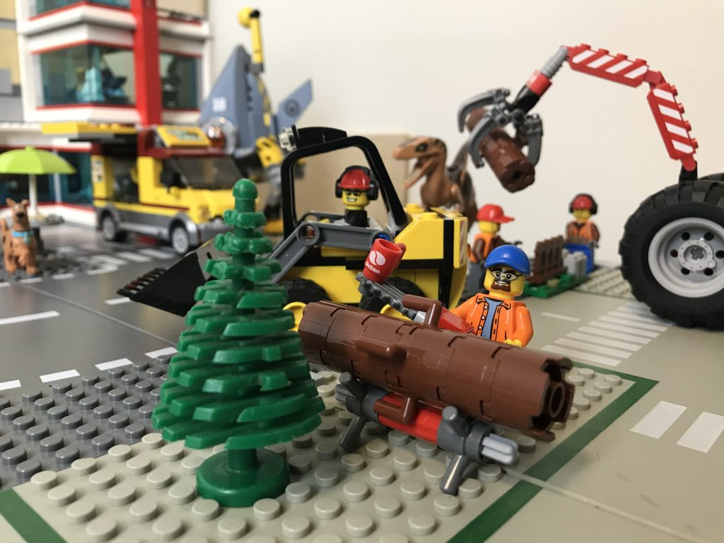 Troy from BRICKFAMILY clearing trees to make way for the LEGO Brick Bank